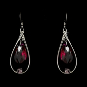 * Earring 8132 Silver Fuchsia***Discontinued***