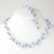 * Blue Silver Clear Butterfly Necklace Bracelet Set 7614