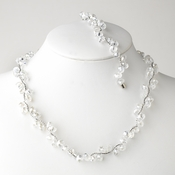 * Clear Silver Clear Butterfly Necklace Bracelet Set 7614