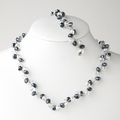 * Navy Silver Clear Butterfly Necklace Bracelet Set 7614
