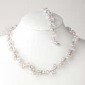 * Pink Silver Clear Butterfly Necklace Bracelet Set 7614