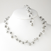 * Silver Hematite Butterfly Necklace Bracelet Set 7614