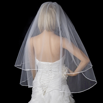 "Bridal Wedding Double Layer 1/8"" Satin Ribbon Edge Elbow Length Veil VS E 18"