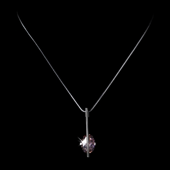 * Fabulous Designer Inspired Silver Pink Crystal Pendant Necklace 3500***Discontinued***