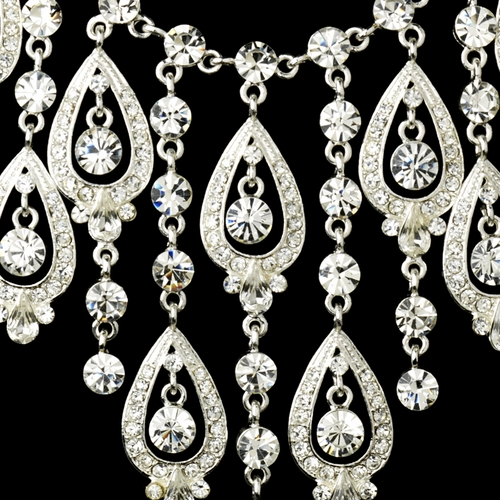 Silver Clear Necklace Earring Set 71990