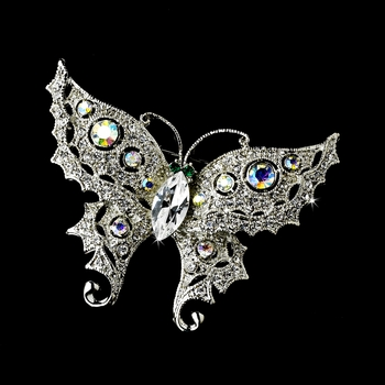 * Anitque Silver Clear/AB Rhinestone Butterfly with Green Eyes Brooch 122