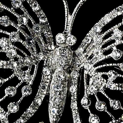 * Antique Silver Rhinestone Butterfly and Ivory Pearl Brooch 124