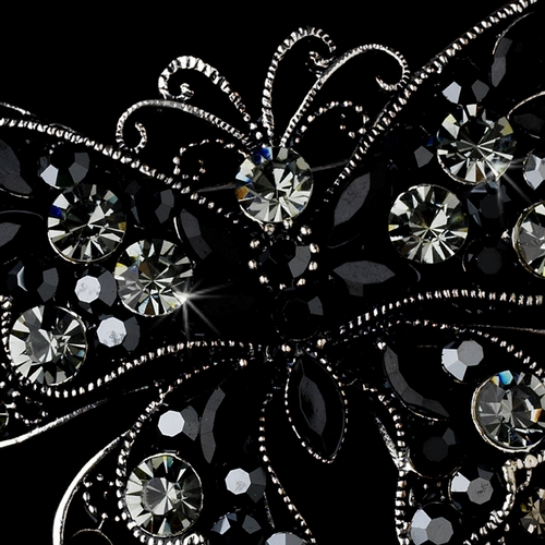 * Crystal Butterfly Brooch 73 Antique Silver with Black Rhinestones