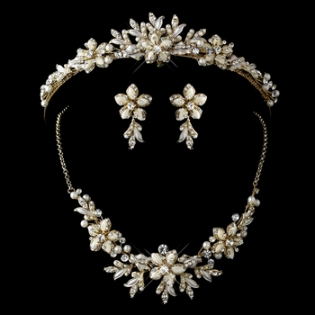 Gold Ivory Flower Accent and Pearl Matching Floral Tiara Necklace & Earrings Jewelry Set 8100