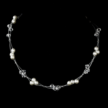 Illusion Silver White Pearl Necklace N 8149
