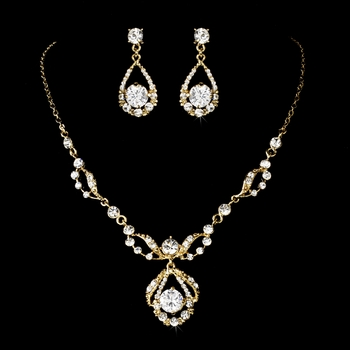 Gold Clear Round Rhinestone Necklace & Earrings Bridal Jewelry Set 8265