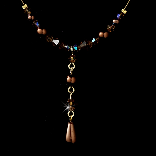 Delightful Gold Brown Pearl & Crystal Bead Necklace 8154