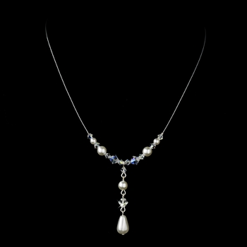 Delightful Silver White Pearl & AB Crystal Bead Necklace 8154