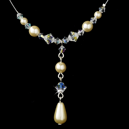 Delightful Silver Ivory Pearl & AB Crystal Bead Necklace 8154