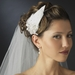 * Silver Clear Rhinestone & Ivory Feather Side Accented Bridal Headband Headpiece 2013