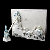 Majestic Light Blue Cinderella Castle Guest Book & Pen Set***Discontinued***