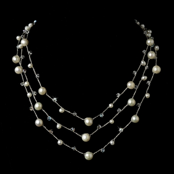 Faux Pearl & Austrian Crystal Studded Three Row Necklace 7831
