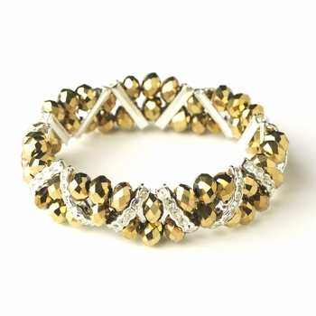 Gold Silver Clear Double Line Bracelet 7616