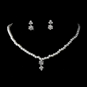 Necklace Earring Set 402 C Silver White