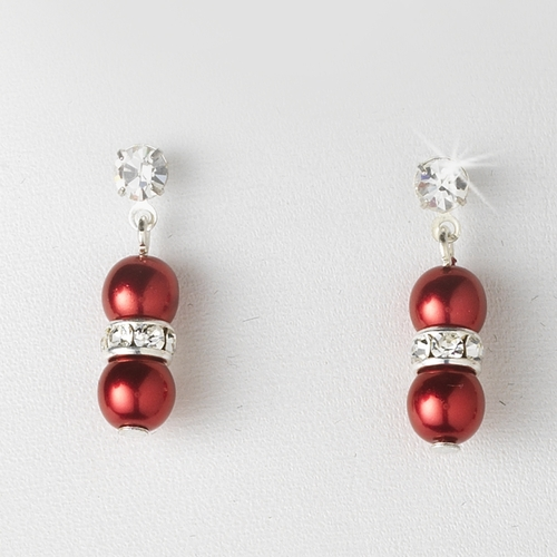 Necklace Earring Set 206 Red Clear