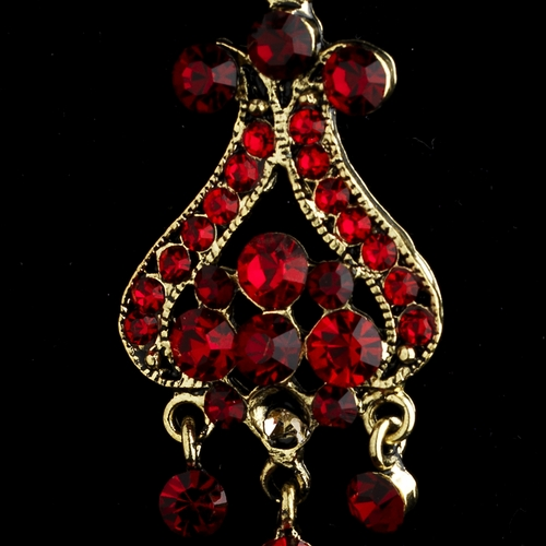 Gold Red Earring Set 1033