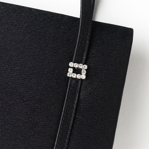 * Glamorous Black Satin Rhinestone Buckle Evening Bag 209