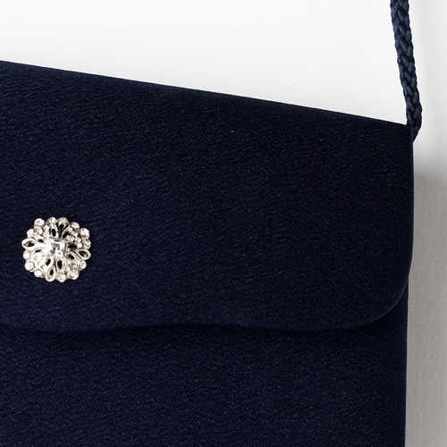 * Exquisite Navy Satin Evening Bag w/ Rhinestone Accent 216 ***Discontinued***