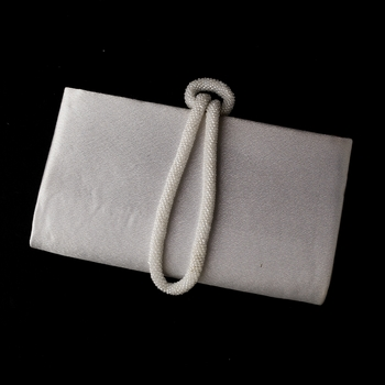 * Wonderful White Satin Beaded Knot Strap Evening Bag 208