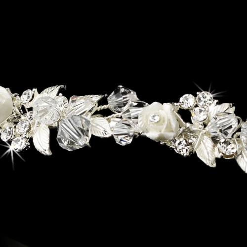 Crystals & Porcelain Flowers Silver Headband Headpiece 3890