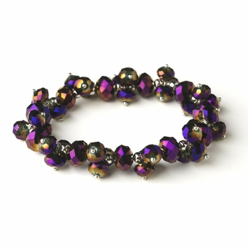 Purple AB Flower Bracelet 7617