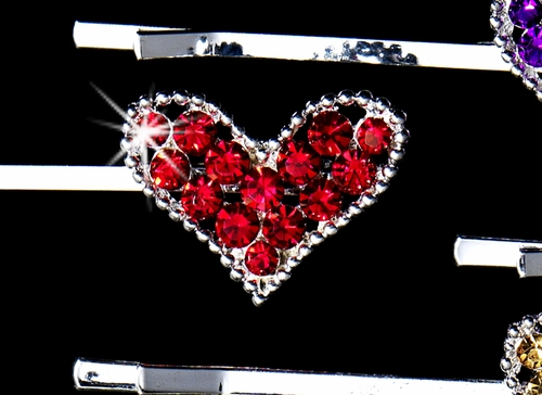 Wonderful 24 Piece Heart Rhinestone Bobby Pin Set in Assorted Colors BPS 2064