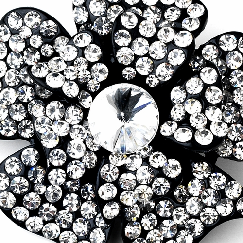 * Black Clear Rhinestone Brooch 130