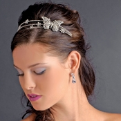 * Rhodium Silver Clear Butterfly Headband Headpiece 1685***Discontinued***