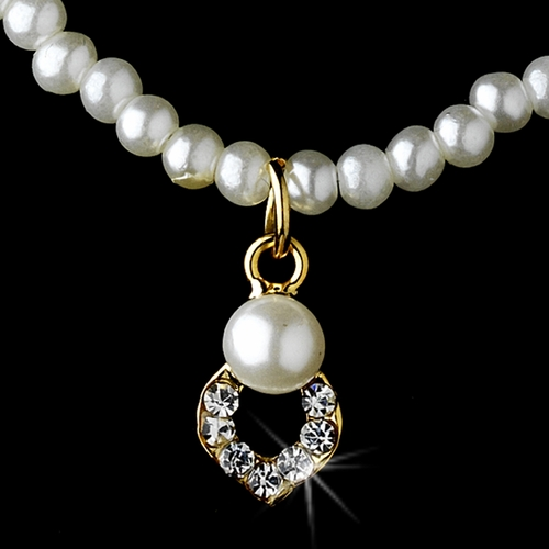 Children's Necklace Earring Set 404 Gold Ivory Pearl