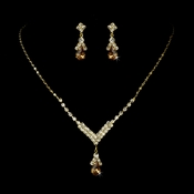 Gold Light Brown Necklace Earring Set 344