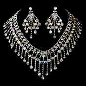 Silver Clear AB Necklace Earring Set 8285
