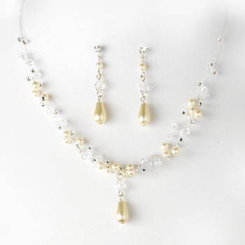 Charming Silver Ivory Pearl & AB Crystal Bead Necklace & Earring Set 8146