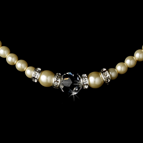 Ivory Silver with Clear Crystal Necklace 8376