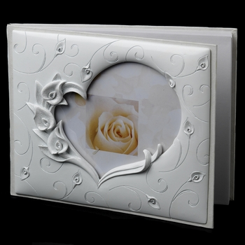 Guest Book 406 Lilly Heart Poly Resin