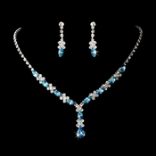 Silver Aqua Necklace Earring Set 9235 **Discontinued**