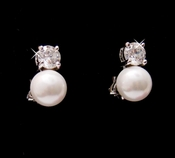 Beautiful Silver Clear CZ & White Pearl Clip On Earrings 3020