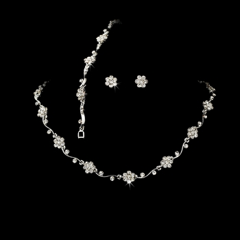 Necklace Earring Bracelet Set 384 Silver Clear AB