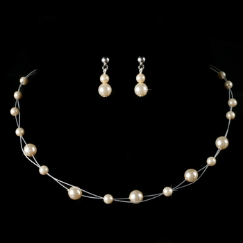 Children's Necklace Earring Set8441 Silver Ivory