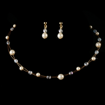 Children's Gold Ivory Pearl & AB Crystal Bead Jewelry Set 8444