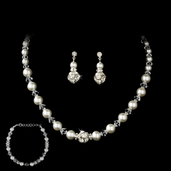 Necklace Earring Bracelet Set 815 Silver White