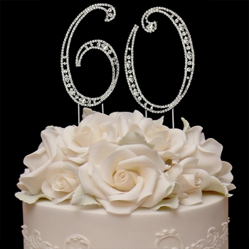 Vintage 60th Anniversary Birthday Swarovski Crystal Cake Topper