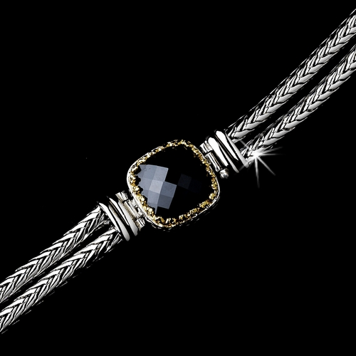 Silver Black w/ Gold Trim Bracelet 2699