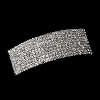 Silver Clear Rhinestone Hair Barrette 1130