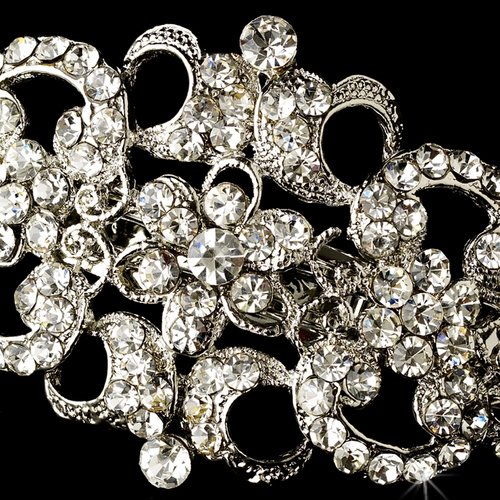 Vintage Rhodium Silver Rhinestone Bridal Hair Barrette 2030***Discontinued***