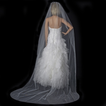 Single Layer Cathedral Length Veil with Sparkling Diffuse Rhinestone Edge V 137 1C